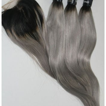 "Sale - 300g 18"" grey ombre virgin hair extensions/ bundle deal/ Russian Remy hair / straight weave/ 1b / grey human hair extensions/hairweft"