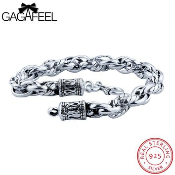 GAGAFEEL 925 Sterling Silver Bangle Bracelet Luxury Jewelry Thai Silver Watch Simple Chain Bangles S Clasp Gift For Father's Day