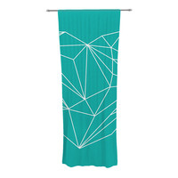 "Mareike Boehmer ""Heart Graphic Turquoise"" Teal Abstract Decorative Sheer Curtain"