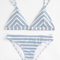Striped Triangle Bikini Set -SheIn(Sheinside)