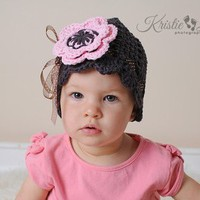 Brown Cloche with Pink Flower and Pink or Sheer Brown Polka Dot Ribbon | JonisCrochetCreations - Crochet on ArtFire