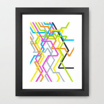 "Colorful Art Print - ""Neon 90s Metro"" Graph Drawing - 8x10 - abstract art, subway art, new york city inspired art"