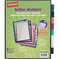 Staples® Better™ dividers 8-Tab set, Multicolor