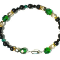 Loki Green Gold Black Swarovski Pearl and Crystal Bracelet