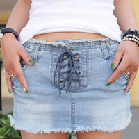Front Lace with Fringe Edge Denim Mini Skirt