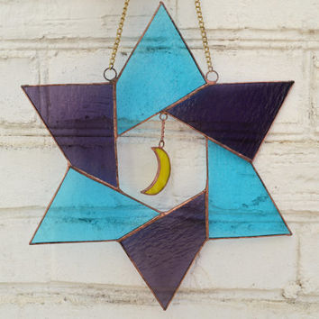 Star suncatcher, Stained glass star and moon panel, Window or Wall decor, Glass art with origami geometric design