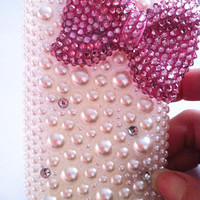 Apple iPod Touch 4 4G Gen 4th Generation Handmade Charms Phone Case Cover Skin Bling Pink Bowknot  Pearls Rhinestones Crystals
