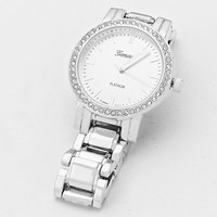 Crystal Chain Dial Watch Silver