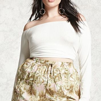 Plus Size Tropical Leaf Shorts
