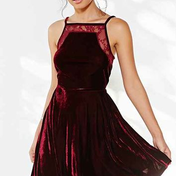 Oh My Love Square-Neck Lace Velvet Skater Dress-