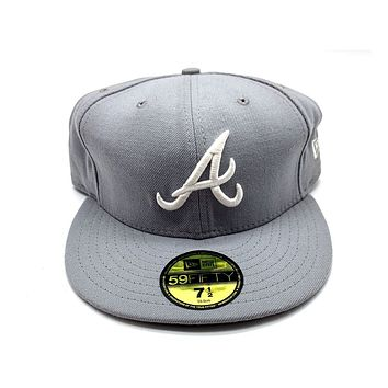 New Era 59FIFTY Atlanta Braves Gray With White Fitted Hat