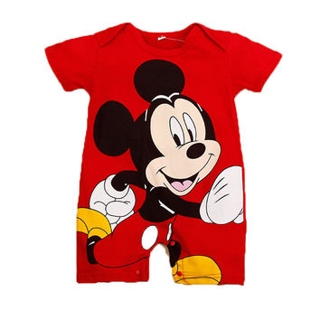 2017 Summer Style Baby Rompers Baby Girls Clothes Cotton Cute Mickey Minnie Romper Newborn Jumpsuits Ropa Bebes Baby Boy Clothes
