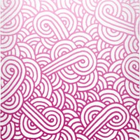 Gradient pink and white swirls doodles Beach Towel