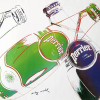 ANDY WARHOL for PERRIER⎮1983 French vintage advertising poster⎮green blue⎮pop art