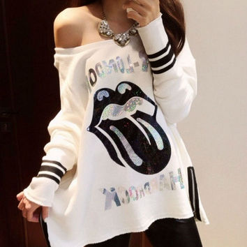 New Spring Women's T-shirts Sexy Slash Neck Off Shoulder Cartoon Printing Loose Long Sleeve Tops T-shirt = 1931889476