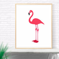 Flamingo Printable wall art, Pink Flamingo Art,  Flamingo Modern Art Print, Gallery Wall, Coastal Art, Nursery, Kids Room, Beach Wall Decor