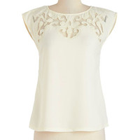 Mid-length Cap Sleeves Pottery Date Top in Ivory