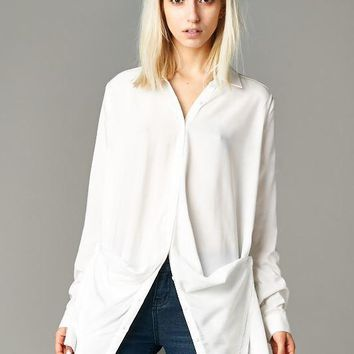 'Pinned Up' Split-Front Blouse