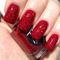 Roses - red holographic glitter nail polish