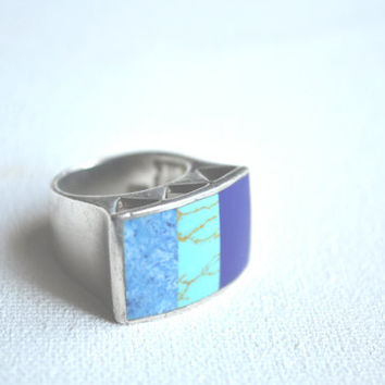 vintage inlay turquoise and lapis statement ring // navajo native american inlay // sterling silver