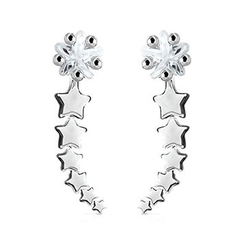 BodyJ4You Pair of Shooting Stars Crystal Clear Ear Crawler Silvertone Ear Climber