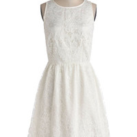 ModCloth Long Sleeveless A-line Entirely Enchanting Dress in Ivory