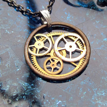 "Clockwork Pendant ""Gyrate"" Recycled Mechanical Watch Gears and Intricate Sculpture Wearable Art Not Quite Steampunk Assembly Necklace"