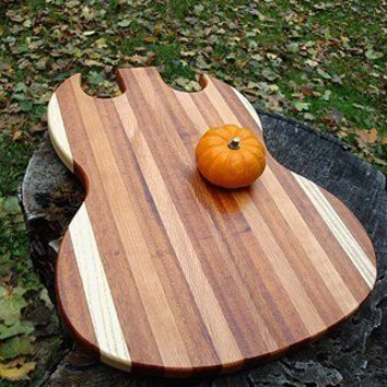 Handmade Wood Rockin Guitar Cutting Board - SG Style - Brazilian Goncalo Alves &Massachusetts Oak