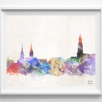 Hamburg Skyline, Germany Watercolor, Poster, German Print, Bedroom, Art, Cityscape, City Painting, Living, Illustration, Europe [NO 438]