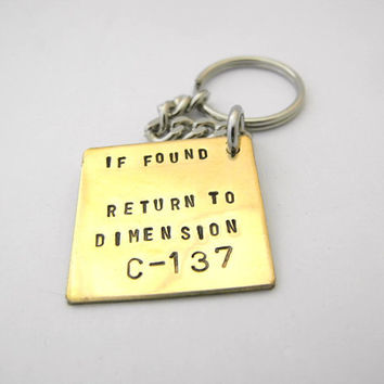 rick and morty keyring - if found return to Dimension C-137