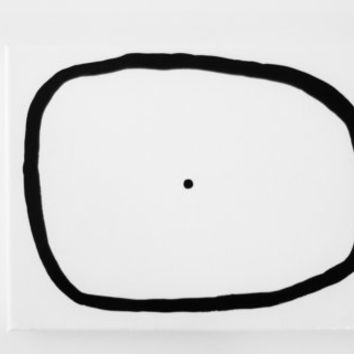 Original Minimalist Painting Black and White Art Modern Abstract Geometric Circle Painting - 6 x 8 inch Canvas - FREE SHiPPiNG (Canada & US)
