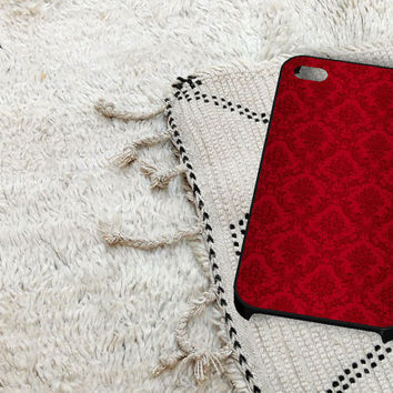 Red Damask Pattern iPhone 5 iPhone 4 / 4S Plastic Hard Case Soft Rubber Case
