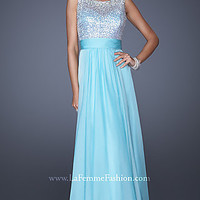 La Femme Long Sleeveless Prom Gown
