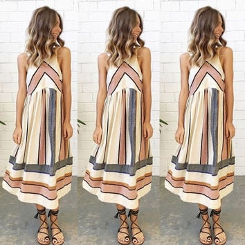 Beige Summer Fashion Sleeveless Stripes Casual Dress