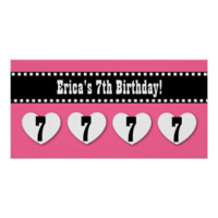 7th Birthday Pink Black Hearts Banner Custom V06 Posters