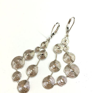 Silver Geometric Earrings w/ Spirals. Triangle Earrings. Long Dangle Earrings. Women's Drop Earrings. Party Earrings. Gift for Wife / Mother