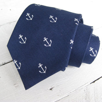 Navy Anchors Mens Necktie~Cotton Necktie~Anniversary Gift~Wedding Tie~Mens Gift~Cotton Tie~Mens Tie~Anchor Tie
