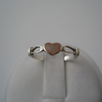 Sterling Silver 925 Mother Of Pearl Heart Ring Dainty Small Thin Band Size 7 PD 925