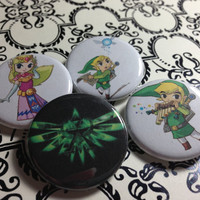 Set of 4 Legend of Zelda, Featuring Link Pinback Buttons, Plus Free Bonus Pin