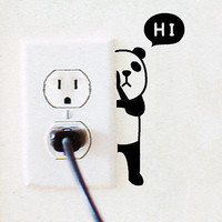 Panda Switch Sticker Wall Quote Wall Stickers Vinyl Decor Decals Home Mural