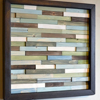 Wood Sculpture Wall Art Skinny Rectangles 11 x by moderntextures
