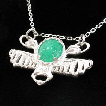 Silver Wing Snake and Scarab Pendant by SwankMetalsmithing on Etsy