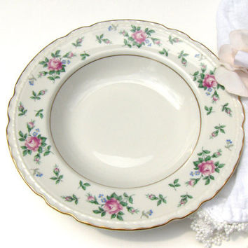 Vintage Soup Bowl Princess China Sweet Briar China Pink Rose Floral
