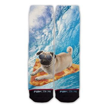 Function   Pizza Surfing Pug Sock