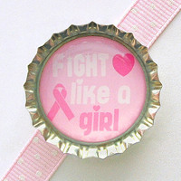 Fight Like A Girl Breast Cancer Awareness Bottle Cap Magnet - fridge magnet, pink ribbon magnet, breast cancer ribbon, breast cancer survior