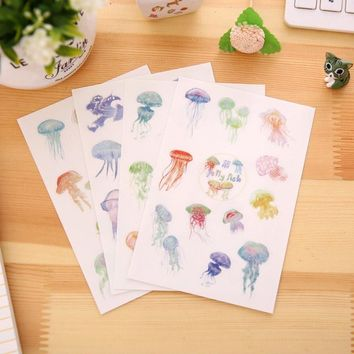 4Sheet/lot Korean Kawaii Creative Jellyfish Art Flakes Transparent Decorative Diary Gifts PVC Stickers School Office Supplies