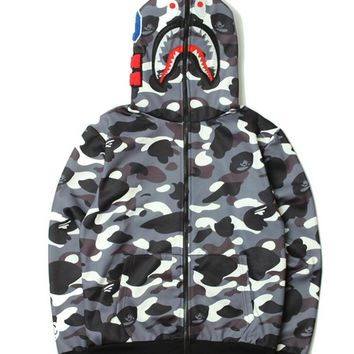 Zippers Hats Hoodies Camouflage Stylish Fleece Jacket [85032534028]