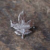 Vintage Ottawa Brooch 925 Sterling Silver Etched Maple Leaf Canada Souvenir Signed AMCO 1960's // Vintage Sterling Silver Jewelry