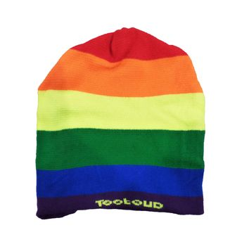 Rainbow Horizontal Gay Pride Flag Adult Knit Beanie Cap Hat All Over Print by
