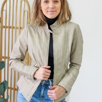 Def Leppard Moto Jacket - Taupe